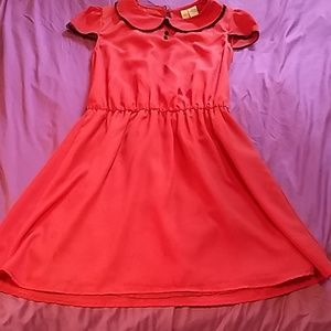 Red Coral short sleeves dress